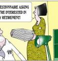 This cartoon relates to pensions and early retirement.