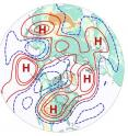 "This map of air flow a few miles above ground level in the Northern Hemisphere shows the type of wavenumber-5 pattern associated with US drought. This pattern includes alternating troughs (blue contours) and ridges (red contours), with an ""H"" symbol (for high pressure) shown at the center of each of the five ridges. High pressure tends to cause sinking air and suppress precipitation, which can allow a heat wave to develop and intensify over land areas."