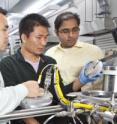 Left to right are Sieu D. Ha and Jian Shi, postdoctoral fellows at Harvard SEAS, and Shriram Ramanathan, associate professor of materials science.