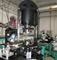 The high pressure apparatus installed on the beamline BL14B1 at SPring-8, a third generation synchrotron radiation facility in Japan.
