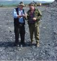 This shows Professor Large and Professor Maslennikov on the hunt for suitable black shales in Siberia.