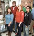 A new collaboration solved a decades-old medical mystery involving amphotericin, an antifungal agent. Pictured, from left: graduate student Grant Hisao; chemistry professor Martin Burke; graduate students Alex Cioffi, Katrina Diaz, Marcus Tuttle and Mary Clay; chemistry professor Chad Rienstra; and graduate students Brice Uno, Tom Anderson and Matt Endo.