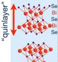This illustration shows the crystal structure of the topological insulator bismuth selenide, Se-Bi-Se-Bi-Se, consisting of five atomic layers ('quinlayers') of alternating selenide (Se) and bismuth (Bi).