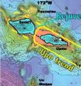 This map of the Samoan hotspot shows its division into three parallel volcanic lineaments.