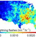 This graphic shows the intensity of lightning flashes averaged over the year in the lower 48 states during 2011.