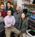This is the Martin Burke chemistry group. Right to left:Junqi Li, Steven Ballmer,  Jonathan Lehmann, Michael Schmidt, Andrea Palazzolo. Marty Burke,  professor of chemistry, bottom center.