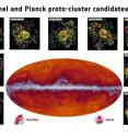 The Planck all-sky map at submillimeter wavelengths (545 GHz). The band running through the middle corresponds to dust in our Milky Way galaxy. The black dots indicate the location of the proto-cluster candidates identified by Planck and subsequently observed by Herschel. The inset images showcase some of the observations made by Herschel's SPIRE instrument; the contours represent the density of galaxies.