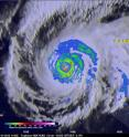 TRMM captured this image at 14:15 UTC on March 31, 2015 that shows the rain intensities within the very heart of Super Typhoon Maysak as it undergoes an eye wall replacement cycle.