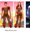 This image shows three levels of attractiveness in avatars from World of Warcraft.
