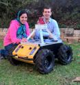 University of Adelaide Ph.D. student Zahra Bagheri and supervisor Professor Benjamin Cazzolato (School of Mechanical Engineering) with the robot under development.  The robot features a vision system using algorithms based on insect vision.