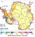 This map shows the rates of mass changes from ICESat 2003-2008 over Antarctica. Sums are for all of Antarctica: East Antarctica (EA, 2-17); interior West Antarctica (WA2, 1, 18, 19, and 23); coastal West Antarctica (WA1, 20-21); and the Antarctic Peninsula (24-27). A gigaton (Gt) corresponds to a billion metric tons, or 1.1 billion U.S. tons.