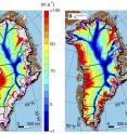 Greenland's average ice speed over the last nine thousand years (left), its current speed (center) and the difference between them (right). Blues (negative values) signify lower speeds today as compared to the nine-thousand-year average.