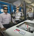 Study co-authors Nanditha Dissanayake, Matthew Eisaman, Yutong Pang, and Ahsan Ashraf are in a laser lab at Brookhaven.