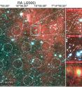This image shows the field of view of the Parkes radio telescope on the left. On the right are successive zoom-ins in on the area where the signal came from (cyan circular region). The image at the bottom right shows the Subaru Telescope's image of the FRB galaxy, with the superimposed elliptical regions showing the location of the fading 6-day afterglow seen with ATCA.