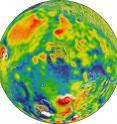 This is a map of Martian gravity looking down on the North Pole (center). White and red are areas of higher gravity; blue indicates areas of lower gravity.