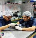 Ph.D. students Zhongkan Tang (left) and Rakhitha Chandrasekara (right) at the Centre for Quantum Technologies, National University of Singapore, are pictured working on a SPEQS unit.
