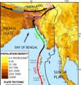 Bangladesh, Myanmar and eastern India (all near top) are bisected by an extension of the tectonic boundary that ruptured under the Indian Ocean in 2004, killing some 230,000 people. Known quakes along the boundary's southern end are shown in different colors; the black sections nearer the top have not ruptured in historic times, but new research suggests they could.