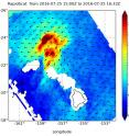 RapidScat analyzed surface winds around Tropical Storm Darby on July 25 and measured strongest wind speeds near 30 meters per second (67 mph/108 kph) north of the center.