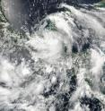 This true color image from NASA-NOAA Suomi NPP satellite on Aug. 4 at 3:30 p.m. EDT (19:30 UTC) shows Tropical Storm Earl over Mexico's Yucatan Peninsula.