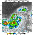 NASA's Terra satellite captured this infrared image of Tropical Storm Mindulle on Aug. 19 at 9:05 a.m. EDT that showed strongest storms with coldest cloud top temperatures (red, yellow) south of the center.