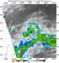 On Aug. 31 at 9:35 a.m. EDT NASA's Terra satellite showed cloud tops in Tropical Depression 15W southeast and southwest of the center as cold as minus 70 degrees Fahrenheit (minus 56.6 degrees Celsius).