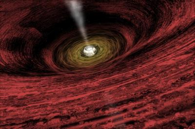 This is an artist's impression of a growing supermassive <stro />black hole</strong> located in the early universe, showing a disk of gas rotating around the central object that generates copious amounts of radiation. This gas is destined to be consumed by the <strong>black hole</strong>.&#8221; class=&#8221;image image_medium&#8221; /></a><br />       <a href=