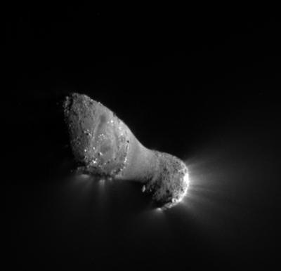"Jets can be seen streaming out of the nucleus, or main body, of comet Hartley 2 in this image from NASA's <stro />EPOXI</strong> mission. The nucleus is approximately 2 kilometers (1.2 miles) long and .4 kilometers (.25 miles) across at the narrow neck."" class=""image image_medium"" /></a></p> <p>Hartley 2's hyperactive state, as studied by <strong>NASA</strong>'s <strong>EPOXI</strong> mission, is detailed in a new paper published in this week's issue of the journal <i>science</i> by an international team of scientists that includes Lucy McFadden of <strong>NASA</strong>'s <strong>Goddard Space Flight Center</strong> in Greenbelt, Md. After visiting a comet and imaging distant stars for hints of extrasolar planets, you could say the spacecraft used for <strong>EPOXI</strong> had seen its fair share of celestial wonders. But after about 3.2 billion miles (5.1 billion kilometers) of deep space travel, one final wonder awaited the mission's project and <strong>science</strong> teams. On Nov. 4, 2010, the <strong>EPOXI</strong> mission spacecraft flew past a weird little comet called Hartley 2.</p> <p>""From all the imaging we took during approach, we knew the comet was a little skittish even before flyby,"" said <strong>EPOXI</strong> <strong>Project Manager Tim Larson</strong> of <strong>NASA</strong>'s <strong>Jet Propulsion Laboratory</strong> in Pasadena, Calif. ""It was moving around the sky like a knuckleball and gave my navigators fits, and these new results show this little comet is downright hyperactive.""</p> <p>The <strong>EPOXI</strong> mission found that the strong activity in water release and carbon dioxide-powered jets did not occur equally in the different regions of the comet. During the spacecraft's flyby of the comet — with closest approach of 431 miles (694 kilometers) — carbon dioxide-driven jets were seen at the ends of the comet, with most occurring at the small end. In the middle region or waist of the comet, water was released as vapor with very little carbon dioxide or ice. The latter findings indicate that material in the waist is likely material that came off the ends of the comet and was redeposited.</p> <p>""Hartley 2 is a hyperactive little comet, spewing out more water than most other comets its size,"" said Mike A'Hearn, principal investigator of <strong>EPOXI</strong> from the University of Maryland, <strong>College Park</strong>. ""When warmed by the sun, dry ice — frozen carbon dioxide — deep in the comet's body turns to gas jetting off the comet and dragging water ice with it.""</p> <p><strong>Although Hartley</strong> 2 is the only such hyperactive comet visited by a spacecraft, scientists know of at least a dozen other comets that also are relatively high in activity for their size and which are probably driven by carbon dioxide or carbon monoxide.</p> <p>""These could represent a separate class of hyperactive comets,"" said A'Hearn. ""Or they could be a continuum in comet activity extending from Hartley 2-like comets all the way to the much less active, ""normal"" comets that we are more used to seeing.""</p> <p>The study provides several new twists in the unfolding story of this small cometary dynamo, including: (1) the smooth, relatively inactive waist of the peanut-shaped comet is likely re-deposited rather than primordial material; (2) Hartley 2 has an 'excited state of rotation' because it spins around one axis, but also tumbles around a different axis; and (3) on its larger, rougher ends, the comet's surface is dotted with glittering, blocky objects that can reach approximately 165 feet (50 meters) high and 260 feet (80 meters) wide.</p> <p>Another mission discovery is that on the knobby ends of Hartley 2, particularly the smaller end, the surface terrain is dotted with block-like, shiny objects, some as big as one block long and 16 stories tall. These objects appear to be two to three times more reflective than the surface average.</p> <p>An added surprise was a pronounced increase in the amount of <strong>CN</strong> gas in the comet's coma. For nine days in September, about 10 million times more <strong>CN</strong> gas was given off than usual. This dramatic and unexpected change, called the ""<strong>CN</strong> anomaly,"" was analyzed by McFadden and <strong>Dennis Bodewits</strong>, a former postdoctoral fellow at <strong>NASA</strong> Goddard who is now at the University of Maryland, and their colleagues.</p> <p>The amount of <strong>CN</strong> in a comet's coma is thought to hold clues to how comets formed and evolved during their lifetime. In other cases where a comet has had a big outburst, a lot of dust has been released at the same time. But in this case, the amount of dust did not change, yet the <strong>CN</strong> gas abundance exploded.</p> <p>""We aren't sure why this dramatic change happened,"" says McFadden. ""We know that Hartley 2 gives off considerably more <strong>CN</strong> gas than comet Tempel 1, which was studied earlier by a probe released by the <strong>Deep Impact</strong> spacecraft. But we don't know why Hartley 2 has more <strong>CN</strong>, and we don't know why the amount coming off the comet changed so drastically for a short period of time. We've never seen anything like this before.""</p> <p><strong>EPOXI</strong> was an extended mission that utilized the already ""in-flight"" <strong>Deep Impact</strong> spacecraft to explore distinct celestial targets of opportunity. The name <strong>EPOXI</strong> itself is a combination of the names for the two extended mission components: the extrasolar planet observations, called Extrasolar Planet Observations and Characterization (EPOCh), and the flyby of comet Hartley 2, called the <strong>Deep Impact</strong> Extended Investigation (<strong>DIXI</strong>). The spacecraft retained the name ""<strong>Deep Impact</strong>."" During its approach, encounter and departure from comet Hartley 2, the spacecraft beamed back over 117,000 images and spectra.</p> <p><strong>JPL</strong> managed the <strong>EPOXI</strong> and <strong>Deep Impact</strong> missions for <strong>NASA</strong>'s <strong>Science</strong> Mission Directorate, <strong>Washington</strong>. The <strong>EPOXI</strong> mission was part of the <strong>Discovery Program</strong> managed at <strong>NASA</strong>'s <strong>Marshall Space Flight Center</strong> in Huntsville, Ala. The University of Maryland, <strong>College Park</strong>, is home to Michael A'Hearn, principal investigator for <strong>EPOXI</strong>. <strong>Drake Deming</strong> of <strong>NASA</strong>'s <strong>Goddard Space Flight Center</strong>, Greenbelt, Md., is the <strong>science</strong> lead for the <strong>EPOXI</strong> mission's extrasolar planet observations. The spacecraft was built for <strong>NASA</strong> by Ball Aerospace  Technologies Corp., Boulder, Colo.</p> <h2>Source: <a href="