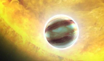 "This is an artist's concept of that planet, <stro />HAT</strong>-P-7b. It is a hot Jupiter class planet orbiting a star that is much hotter than our sun. <strong>Hubble <strong>Space Telescope</strong></strong>'s millionth <strong>science</strong> observation was trained on this planet to look for the presence of water vapor and to study the planet's atmospheric structure via spectroscopy."" class=""image image_medium"" /></a></p> <p><strong>NASA</strong>'s <strong>Hubble Space Telescope</strong> crossed another milestone in its space odyssey of exploration and discovery. On Monday, July 4, the <strong>Earth</strong>-orbiting observatory logged its one millionth <strong>science</strong> observation during a search for water in an exoplanet's atmosphere 1,000 light-years away. ""For 21 years Hubble has been the premier space <strong>science</strong> observatory, astounding us with deeply beautiful imagery and enabling ground-breaking <strong>science</strong> across a wide spectrum of astronomical disciplines,"" said <strong>NASA</strong> <strong>Administrator Charles Bolden</strong>. He piloted the space shuttle mission that carried Hubble to orbit. ""The fact that Hubble met this milestone while studying a faraway planet is a remarkable reminder of its strength and legacy.""</p> <p><strong>Although Hubble</strong> is best known for its stunning imagery of the cosmos, the millionth observation is a spectroscopic measurement, where light is divided into its component colors. These color patterns can reveal the chemical composition of cosmic sources.</p> <p>Hubble's millionth exposure is of the planet <strong>HAT</strong>-P-7b, a gas giant planet larger than Jupiter orbiting a star hotter than our sun. <strong>HAT</strong>-P-7b, also known as Kepler 2b, has been studied by <strong>NASA</strong>'s planet-hunting Kepler observatory after it was discovered by ground-based observations. Hubble now is being used to analyze the chemical composition of the planet's atmosphere.</p> <p>We are looking for the spectral signature of water vapor. This is an extremely precise observation and it will take months of analysis before we have an answer,"" said <strong>Drake Deming</strong> of the University of Maryland and <strong>NASA</strong>'s <strong>Goddard Space Flight Center</strong> in Greenbelt, Md. ""Hubble demonstrated it is ideally suited for characterizing the atmospheres of exoplanets, and we are excited to see what this latest targeted world will reveal.""</p> <p>Hubble was launched April 24, 1990, aboard space shuttle's Discovery's <strong>STS</strong>-31 mission. Its discoveries revolutionized nearly all areas of astronomical research from planetary <strong>science</strong> to cosmology. The observatory has collected more than 50 terabytes of data to-date. The archive of that data is available to scientists and the public at:</p> <p>› <a href="
