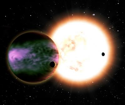 This artist's conception shows a hot Jupiter and its two hypothetical moons with a sunlike star in the background. The planet is cloaked in brilliant aurorae triggered by the impact of a coronal mass ejection. Theoretical calculations suggest that those aurorae could be 100-1000 times brighter than <stro />Earth</strong>&#8216;s.&#8221; class=&#8221;image image_medium&#8221; /></a></p> <p><strong>Earth</strong>&#8216;s aurorae, or Northern and Southern Lights, provide a dazzling light show to people living in the polar regions. Shimmering curtains of green and red undulate across the sky like a living thing. New research shows that aurorae on distant &#8220;hot Jupiters&#8221; could be 100-1000 times brighter than Earthly aurorae. They also would ripple from equator to poles (due to the planet&#8217;s proximity to any stellar eruptions), treating the entire planet to an otherworldly spectacle. &#8220;I&#8217;d love to get a reservation on a tour to see these aurorae!&#8221; said lead author <strong>Ofer Cohen</strong>, a <strong>SHINE</strong>&#8211;<strong>NSF</strong> postdoctoral fellow at the Harvard-Smithsonian Center for Astrophysics (CfA).</p> <p><strong>Earth</strong>&#8216;s aurorae are created when energetic particles from the <strong>Sun</strong> slam into our planet&#8217;s <strong>magnetic field</strong>. The field guides solar particles toward the poles, where they smash into <strong>Earth</strong>&#8216;s atmosphere, causing air molecules to glow like a neon sign. The same process can occur on planets orbiting distant stars, known as exoplanets.</p> <p>Particularly strong aurorae result when <strong>Earth</strong> is hit by a coronal mass ejection or <strong>CME</strong> &#8211; a gigantic blast that sends billions of tons of solar plasma (electrically charged, hot gas) into the solar system. A <strong>CME</strong> can disrupt <strong>Earth</strong>&#8216;s magnetosphere &#8211; the bubble of space protected by <strong>Earth</strong>&#8216;s <strong>magnetic field</strong> &#8211; causing a geomagnetic storm. In 1989, a <strong>CME</strong> hit <strong>Earth</strong> with such force that the resulting geomagnetic storm blacked out huge regions of Quebec.</p> <p>Cohen and his colleagues used computer models to study what would happen if a gas giant in a close orbit, just a few million miles from its star, were hit by a stellar eruption. He wanted to learn the effect on the exoplanet&#8217;s atmosphere and surrounding magnetosphere.</p> <p>The alien gas giant would be subjected to extreme forces. In our solar system, a <strong>CME</strong> spreads out as it travels through space, so it&#8217;s more diffuse once it reaches us. A &#8220;hot Jupiter&#8221; would feel a stronger and more focused blast, like the difference between being 100 miles from an erupting volcano or one mile away.</p> <p>&#8220;The impact to the exoplanet would be completely different than what we see in our solar system, and much more violent,&#8221; said co-author <strong>Vinay Kashyap</strong> of CfA.</p> <p>In the model, a <strong>CME</strong> hits the &#8220;hot Jupiter&#8221; and weakens its <strong>magnetic</strong> shield. Then <strong>CME</strong> particles reach the gas giant&#8217;s atmosphere. Its aurora lights up in a ring around the equator, 100-1000 times more energetic than Earthly aurorae. Over the course of about 6 hours, the aurora then ripples up and down toward the planet&#8217;s north and south poles before gradually fading away.</p> <p>Despite the extreme forces involved, the exoplanet&#8217;s <strong>magnetic field</strong> shields its atmosphere from erosion.</p> <p>&#8220;Our calculations show how well the planet&#8217;s protective mechanism works,&#8221; explained Cohen. &#8220;Even a planet with a <strong>magnetic field</strong> much weaker than Jupiter&#8217;s would stay relatively safe.&#8221;</p> <p>This work has important implications for the habitability of rocky worlds orbiting distant stars. Since red dwarf stars are the most common stars in our galaxy, astronomers have suggested focusing on them in the search for Earthlike worlds.</p> <p>However since a red dwarf is cooler than our <strong>Sun</strong>, a rocky planet would have to orbit very close to the star to be warm enough for liquid water. There, it would be subjected to the sort of violent stellar eruptions Cohen and his colleagues studied. Their future work will examine whether rocky worlds could shield themselves from such eruptions.</p> <h2>Source: <a href=