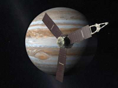 """This is an artist's rendition of <stro />NASA</strong>'s Juno spacecraft at Jupiter."""" class=""""image image_medium"""" /></a></p> <p>Several University of Colorado Boulder faculty and students are participating in <strong>NASA</strong>'s <strong>Juno Mission</strong> to Jupiter, now slated for launch Aug. 5 from Florida's Kennedy Space Center and which is expected to help steer scientists toward the right recipe for planet-making. The primary goal of the mission is to understand the origin and evolution of the massive gas planet, said <strong>CU</strong>-Boulder <strong>Professor</strong> Fran Bagenal of the Laboratory for Atmospheric and Space Physics, a mission co-investigator. The data should reveal not only the conditions of the early solar system, but also help scientists to better understand the hundreds of planetary systems recently discovered around other stars, she said.</p> <p>After the sun formed, Jupiter got the majority of the """"leftovers,"""" said <strong>Juno Mission</strong> principal investigator Scott Bolton from the Southwest <strong>Research</strong> Institute in San Antonio. Since Jupiter has a larger mass than all of the other planets in the solar system combined, scientists believe it holds the keys to understanding how the planets formed and why some are rocky and others are gas giants, Bagenal said.</p> <p><strong>Once Juno</strong> reaches Jupiter orbit in 2016 after a 400-million-mile trip, the spacecraft will orbit the planet's poles 33 times, skimming roughly 3,000 miles above the cloud tops in a region below Jupiter's powerful radiation belts. While the spacecraft itself is about the size of a <strong>Volkswagen</strong> and encased in a protective radiation vault, its three solar panels that will unfurl in space will make the spinning spacecraft more than 65 feet in diameter.</p> <p>Bagenal said scientists were continually surprised by the data beamed back from <strong>NASA</strong>'s Galileo mission to Jupiter, which arrived at the planet in 19"""