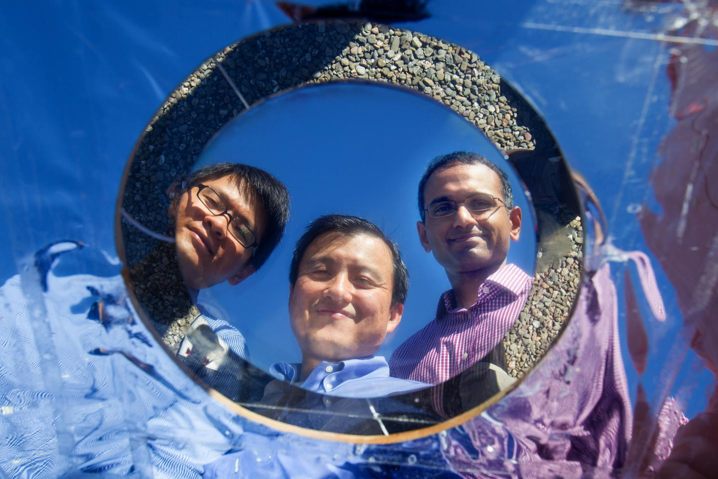 Stanford doctoral candidate Linxiao Zhu electrical engineering professor Shanhui Fan and research associate Aaswath P. Raman are developing materials to shunt heat into space in a process they call