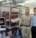 Ron Zuckermann (left) and Ki Tae Nam with Berkeley Lab's Molecular Foundry, have developed a 'molecular paper' material whose properties can be precisely tailored to control the flow of molecules, or serve as a platform for chemical and biological detection.
