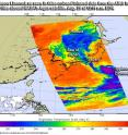 NASA's Aqua satellite provided temperature data on Typhoon Lionrock on Aug. 29 at 12:11 a.m. EDT (0411 UTC). Strongest storms appear in purple, indicating coldest cloud tops.